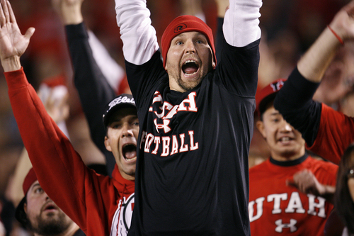 Scott Sommerdorf   |  The Salt Lake Tribune Utah fans erupt after the Utes' goal-line stand to seal the win. Utah upset #5 Stanford 27-21, Saturday, October 12, 2013.