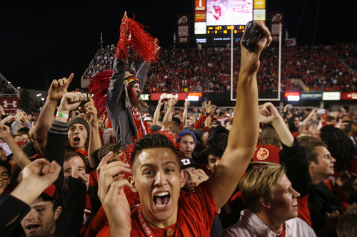 Scott Sommerdorf   |  The Salt Lake Tribune Utah fans who stormed the field celebrate the win over Stanford. Utah upset #5 Stanford 27-21, Saturday, October 12, 2013. Utah upset #5 Stanford 27-21, Saturday, October 12, 2013.