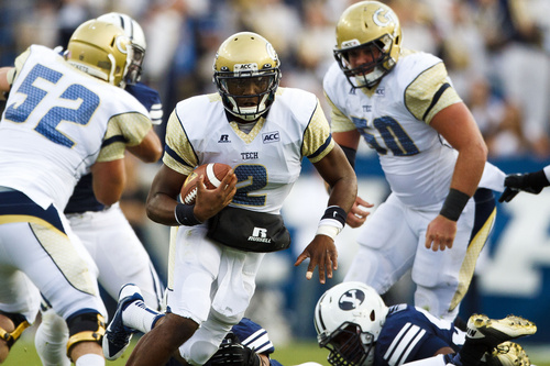 Georgia Tech quarterback Vad Lee (2) runs the ball during an NCAA college football game Saturday, Oct. 12, 2013 at  in Provo, Utah. (AP Photo/The Daily Herald, Alex Goodlett)