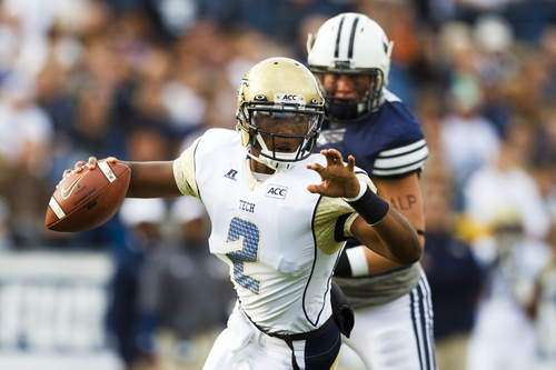 Georgia Tech quarterback Vad Lee (2) looks to pass during an NCAA college football game Saturday, Oct. 12, 2013 at  in Provo, Utah. (AP Photo/The Daily Herald, Alex Goodlett)