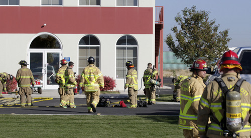 Al Hartmann  |  The Salt Lake Tribune The Salt Lake City Fire Department responds to a 10-gallon chemical spill at RinChem, 5171 W. 150 South, west of Salt Lake City on Wednesday Oct. 16, 2013.  Six employees were evacuated from the building.
