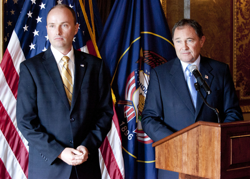 Keith Johnson | The Salt Lake Tribune   Utah Rep. Spencer J. Cox, R, Fairview and Utah Gov. Gary Herbert answer questions after announcing that Cox's nomination for Lt. Governor, October 8, 2013 in Salt Lake City.