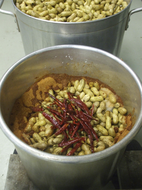 Kathy Stephenson | The Salt Lake Tribune North Carolina peanuts are combined with spices before boiling.