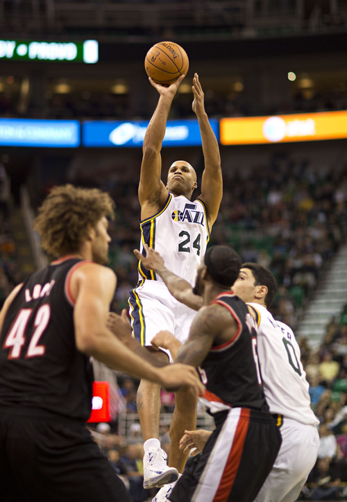 Lennie Mahler  |  The Salt Lake Tribune Richard Jefferson puts up a shot in the second quarter as the Utah Jazz faced the Portland Trailblazers at EnergySolutions Arena on Wednesday, Oct. 16, 2013. Portland beat Utah 99-92.
