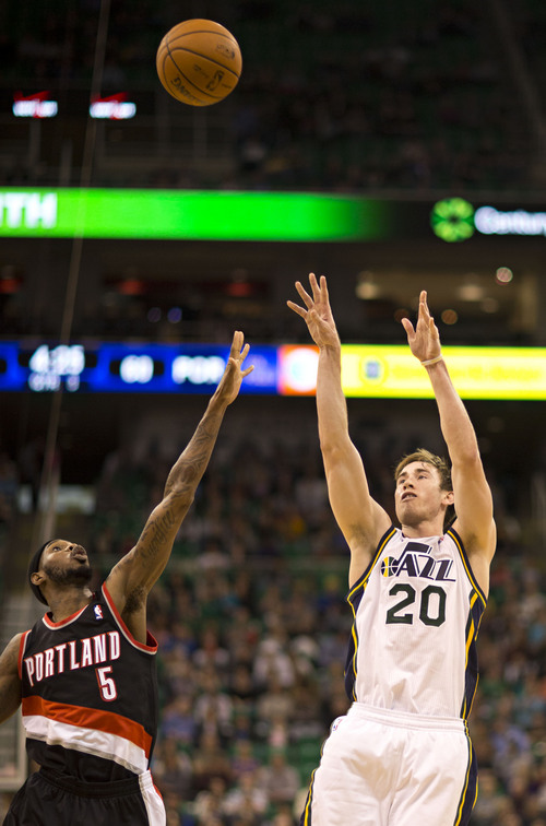 Lennie Mahler  |  The Salt Lake Tribune Gordon Hayward puts up a shot in the second quarter as the Utah Jazz faced the Portland Trailblazers at EnergySolutions Arena on Wednesday, Oct. 16, 2013. Portland beat Utah 99-92.