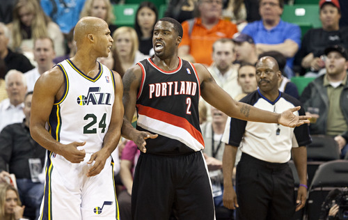 Lennie Mahler  |  The Salt Lake Tribune Portland's Wesley Matthews and Utah's Richard Jefferson react after Jefferson was called for a foul in their game at EnergySolutions Arena on Wednesday, Oct. 16, 2013. Portland beat Utah 99-92.