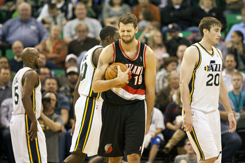 Lennie Mahler  |  The Salt Lake Tribune Portland's Joel Freeland reacts to a call as the Utah Jazz faced the Portland Trailblazers at EnergySolutions Arena on Wednesday, Oct. 16, 2013. Portland beat Utah 99-92.