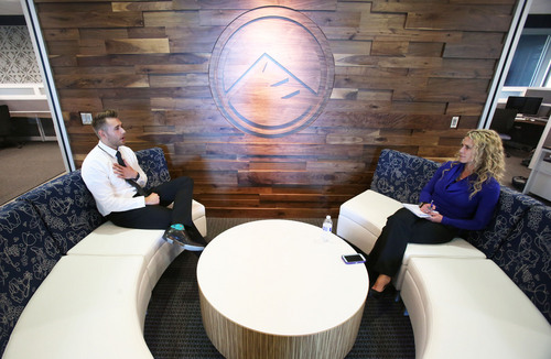 Francisco Kjolseth     The Salt Lake Tribune Spencer Reyes interviews for a leasing associate position as Kelianne Crapo, Executive VP of operations conducts an interview at Peak Capital Partners in Provo on Wednesday, Oct. 16, 2013.The company that formed in 2007-2008 now runs a $435 million portfolio of apartment complexes in eight states.