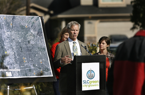 Scott Sommerdorf   |  The Salt Lake Tribune Salt Lake City Mayor Ralph Becker announced eight new parcels of city-owned and managed land for the development of community gardens at the site of the Cannon Greens Community Garden, Thursday, October 17, 2013.