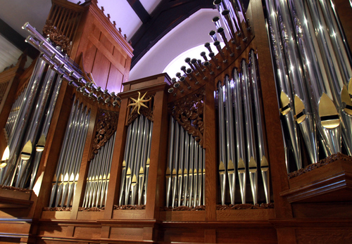 Keith Johnson | The Salt Lake Tribune   The pipe organ in St. Mark's Episcopal Church in Salt Lake City is a recent addition. Construction of the Episcopal church in Salt Lake started in 1870 and was completed in 1874. At the time of its completion, it was said that it could accommodate all of the Episcopalians west of the Mississippi river.