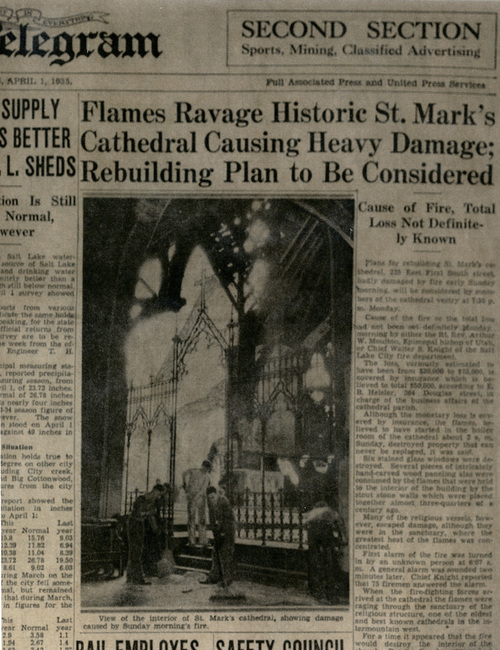 | Courtesy Cathedral Church of St. Mark Newspaper account of the 1935 fire that engulfed St. Mark's Cathedral.
