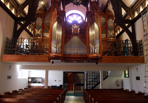 Keith Johnson | The Salt Lake Tribune   The pipe organ in St. Mark's Episcopal Church in Salt Lake City is a recent addition, but it was intentionally placed so that the rose window in the background, an original feature of the church, can be seen. Construction of the Episcopal church in Salt Lake started in 1870 and was completed in 1874. At the time of its completion, it was said that it could accommodate all of the Episcopalians west of the Mississippi river.