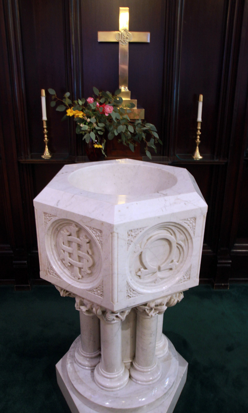 Keith Johnson | The Salt Lake Tribune   The marble baptismal font in St. Mark's Episcopal Church in Salt Lake City, October 8, 2013. Construction of the Episcopal church in Salt Lake started in 1870 and was completed in 1874. At the time of its completion, it was said that it could accommodate all of the Episcopalians west of the Mississippi river.