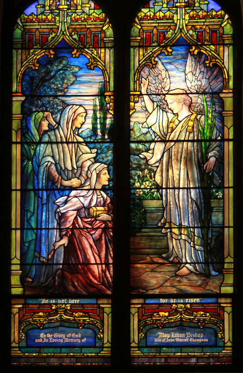 Keith Johnson | The Salt Lake Tribune   This stained glass window in St. Mark's Episcopal Church in Salt Lake City was blown out by fire Easter Sunday in 1935. A female parishioner took the pieces of glass to New York City to have them reassembled and returned to Salt Lake. Charring of the glass is evident in the red woman's red robe. Construction of the Episcopal church in Salt Lake started in 1870 and was completed in 1874. At the time of its completion, it was said that it could accommodate all of the Episcopalians west of the Mississippi river.