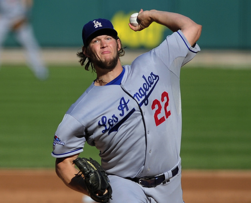Los Angeles Dodgers starting pitcher Clayton Kershaw throws during the first inning of Game 2 of the National League baseball championship series against the St. Louis Cardinals Saturday, Oct. 12, 2013, in St. Louis. (AP Photo/Jeff Curry, Pool)