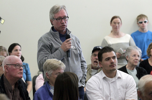 Al Hartmann  |  The Salt Lake Tribune Eric Hyer of Provo gives his opinion during public comment at Count My Vote Utah's first public hearing at the Provo Library Wednesday, October 16.  He supported changing to a primary election over the present caucus convention system. The Count My Vote campaign must have seven public hearings before it can begin its petition drive. If the campaign gets enough signatures, voters will decide whether to change the caucus and convention system in favor of a primary election to select candidates.