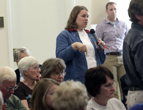 Al Hartmann  |  The Salt Lake Tribune Wendi Baggaley voices her concerns during public comment at Count My Vote Utah's first public hearing at the Provo Library Wednesday, October 16.  She prefers the present caucus convention system. The Count My Vote campaign must have seven public hearings before it can begin its petition drive. If the campaign gets enough signatures, voters will decide whether to change the caucus and convention system in favor of a primary election to select candidates.