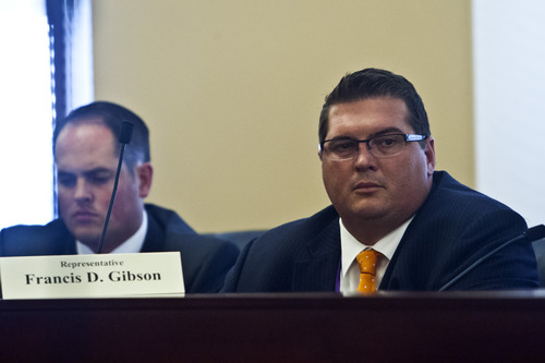 Chris Detrick  |  The Salt Lake Tribune Rep. Francis D. Gibson, R-Mapleton, listens during a special House committee investigating Attorney General John Swallow at the Utah State Capitol Tuesday August 6, 2013.
