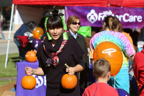 Francisco Kjolseth  |  The Salt Lake Tribune Brandi Sweet the newly appointed Native American Foster Family Recruiter for the Utah Foster Care Foundation, attends the organization's 12th Annual Pumpkin Festival at The Gateway Mall on Friday, Oct. 18, 2013.