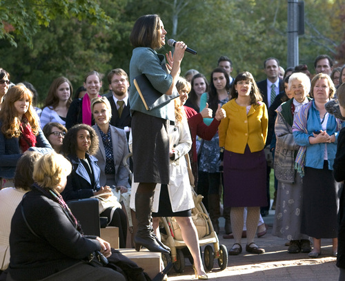 Rick Egan  | The Salt Lake Tribune   Chelsea Shields Strayer speaks to the group Ordain Women before their walk to LDS Conference Center to stand in the standby line to try to gain admittance to the Priesthood session of the 183rd Semi-annual General Conference, Saturday, October 5, 2013.
