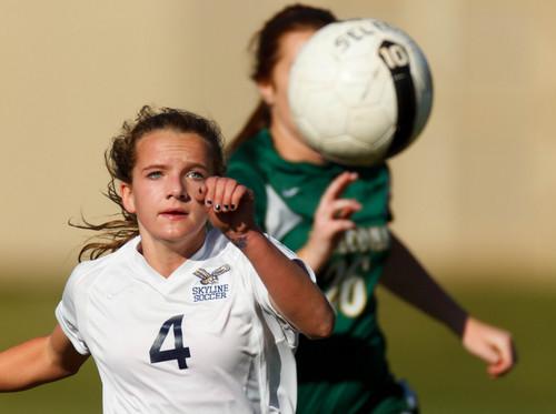 Trent Nelson     The Salt Lake Tribune Skyline's Emma Heyn chases the ball as Skyline hosts Clearfield High School, girls soccer 4A state quarterfinal in Salt Lake City, Thursday October 17, 2013.