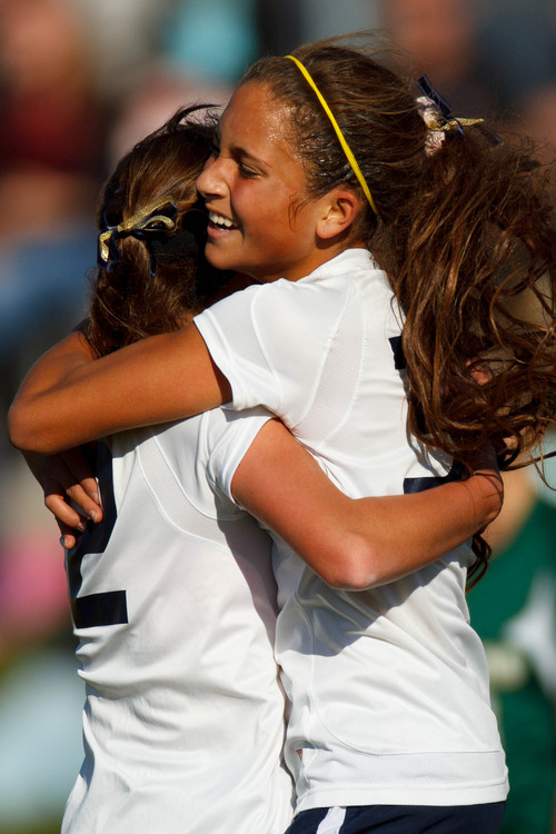 Trent Nelson  |  The Salt Lake Tribune Skyline's Bella Sorensen and Jaslyn Masina celebrate a first half goal as Skyline hosts Clearfield High School, girls soccer 4A state quarterfinal in Salt Lake City, Thursday October 17, 2013.