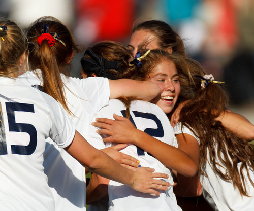 Trent Nelson  |  The Salt Lake Tribune Skyline players celebrate Bella Sorensen's first half goal as Skyline hosts Clearfield High School, girls soccer 4A state quarterfinal in Salt Lake City, Thursday October 17, 2013.