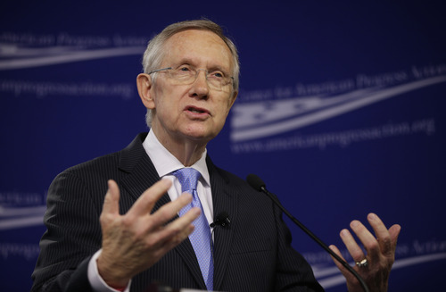 Senate Majority Leader Harry Reid, D-Nev., speaks at the center for American Progress Action Fund in Washington, Monday, July 15, 2013. Reid spoke about ending the current gridlock in the Senate that according to him is harming the nation's ability to address key challenges. (AP Photo/Pablo Martinez Monsivais)