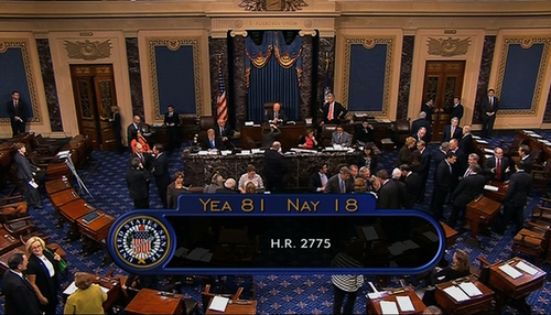 This image from Senate Television shows the final vote total Wednesday night, Oct. 16, 2013, after the Senate voted to avoid a financial default and reopen the government after a 16-day partial shutdown and the measure now heads to the House, which is expected to back the bill before day's end. (AP Photo/Senate TV)