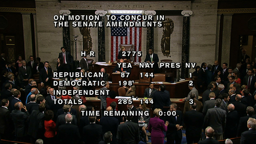 This image from House Television shows the final passage vote total of 285-144 in the House of Representatives on the bill to avoid a national default and end the 16-day partial government shutdown in Washington, Wednesday night, Oct. 16, 2013. (AP Photo/House TV)