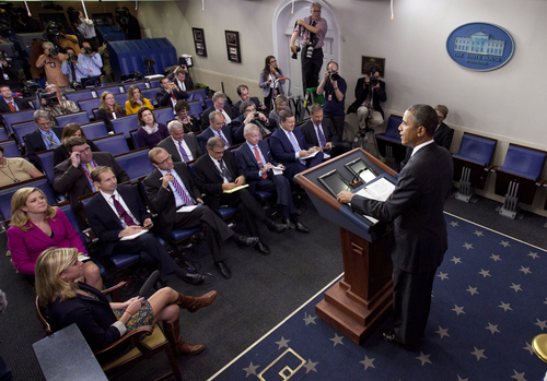 President Barack Obama makes a statement to reporters in the Brady Press Briefing Room at the White House in Washington, Wednesday, Oct. 16, 2013, after Senate lawmakers reached a bipartisan deal to avoid default and reopen the government. (AP Photo/Pablo Martinez Monsivais)