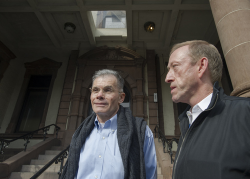 From left, Allen Kratz and Paul Somerville of Hoboken, pause to talk to the media as they leave Hoboken City Hall after applying for a marriage license, Saturday, Oct. 19, in Hoboken, N.J.  They have been together since 1985 and are planning their ceremony for later this week as they can not pick up the license until Tuesday. (AP Photo/Joe Epstein)
