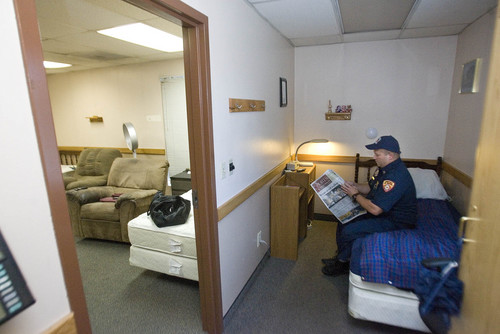 Paul Fraughton   |   The Salt Lake Tribune Capt. Jeff Taylor relaxes in his room adjacent to the dorm area at Taylorsville's  Fire Station No. 117.                      Monday, September 9, 2013