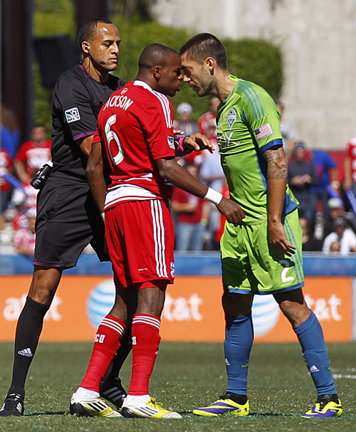 FC Dallas defender/midfielder Jackson Goncalves (6) and Seattle Sounders FC forward Clint Dempsey (2) go head to head as the two had to be separated by the official in the first half of an MLS soccer game at Toyota Stadium Saturday, Oct. 19, 2013, in Frisco, Texas. FC Dallas won 2-0.  (AP Photo/The Dallas Morning News, Tom Fox)  MANDATORY CREDIT; MAGS OUT; TV OUT; INTERNET USE BY AP MEMBERS ONLY; NO SALES
