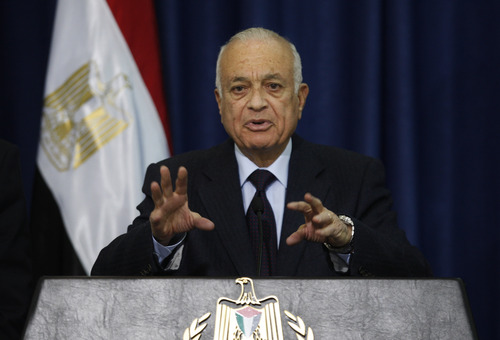 Arab League Secretary-General Nabil Elaraby speaks during a press conference in the West Bank city of Ramallah, Saturday, Dec. 29, 2012. (AP Photo/Majdi Mohammed)