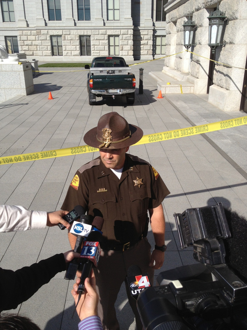 Francisco Kjolseth | The Salt Lake Tribune  A spokesperson with the Utah Highway Patrol holds a press conference to discuss an incident where a driver drove up the west steps of the state capitol before being subdued by police.