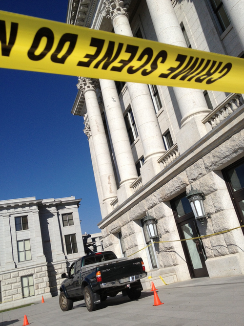 Francisco Kjolseth | The Salt Lake Tribune  A truck sits on the upper plaza on the West side of the state capitol after a man drove his truck up the stairs before being subdued by police.