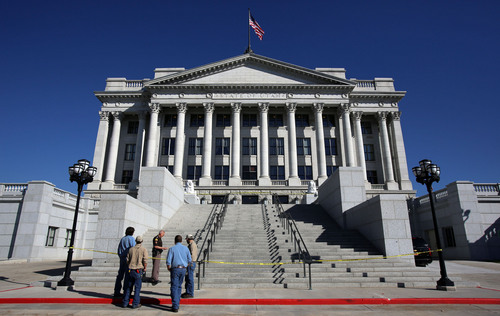 Francisco Kjolseth  |  The Salt Lake Tribune A man reportedly shocked with a stun gun after driving a truck up several flights of stairs to the West entrance to the Utah State Capitol on Tuesday, Oct. 22, is in custody as UHP investigates the incident.