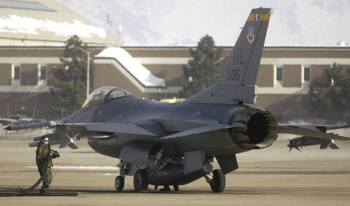 Tribune file photo An F-16 fighter plane from the 388th fighter wing gets refueled at Hill Air Force Base. The Air Force has announced a restructuring of its civilian workforce, which state leaders say will mean the elimination of jobs at the northern Utah base.