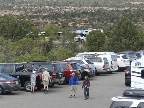| Courtesy Utah State Parks Finding a place to park vehicles at Dead Horse Point State Park near Moab has been a challenge since nearby Canyonlands National Park was closed as part of the federal government shutdown Tuesday.