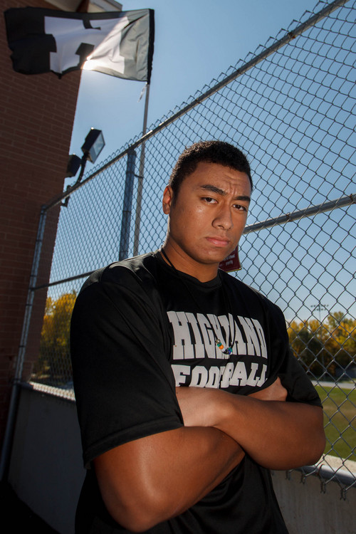 Trent Nelson  |  The Salt Lake Tribune Highland defensive lineman Pita Tonga, at Highland High School in Salt Lake City, Friday October 18, 2013.
