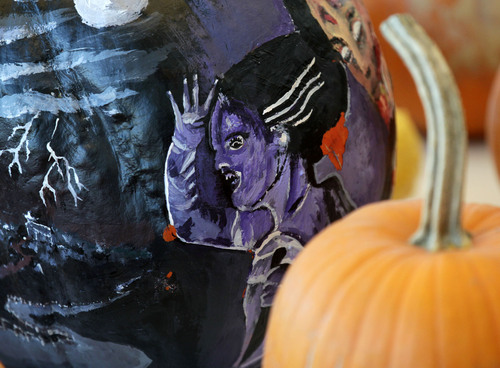 Al Hartmann  |  The Salt Lake Tribune Hundred of pumpkins grown by Utah prison inmates were given to the children at Kauri Sue Hamilton School in Riverton Tuesday October 22.  Some were intricatley painted in scary scenes.