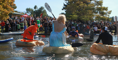 Keith Johnson  |  The Salt Lake Tribune A crowd of spectators watches costume clad pumpkin paddlers participate in the Pumpkin Regatta at Sugar House Park in Salt Lake City, October 19, 2013. Participants raced pumpkins weighing between 500 and 1,000 pounds.