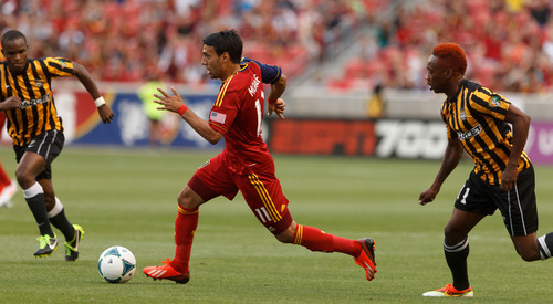 Trent Nelson  |  The Salt Lake Tribune Real Salt Lake's Javier Morales on the attack as Real Salt Lake hosts Charleston Battery in the US Open Cup Wednesday June 12, 2013 at Rio Tinto Stadium in Sandy, Utah.