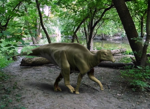 Tyler Keillor  |  Courtesy image Artistís reconstruction of baby Parasaurolophus in its environment.