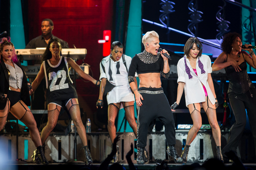 Pink performs in concert at the Staples Center on Sunday, Oct. 13, 2013, in Los Angeles. (Photo by Paul A. Hebert/Invision/AP)