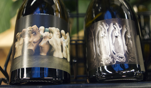 Keith Johnson | The Salt Lake Tribune   Unique labels decorate the bottles of Orin Swift Mannequin and Veladora wines, October 9, 2013. French wine scholar Sheral Schowe teaches a 90-minute class at the State Wine Store on Harris Avenue in Salt Lake City.  The class is geared toward beginners and novices to help them better navigate the wine store, find great deals and learn to interpret wine labels from around the world.