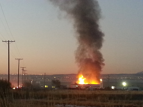 Shannon Coolack | Courtesy photo Traffic on Highway 201 near Magna was disrupted Wednesday morning when a pallet fire broke out in a rural lot in west Salt Lake City.