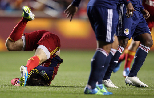 Steve Griffin  |  The Salt Lake Tribune   RSL midfielder Ned Grabavoy lands on his head after being knocked to the ground  by the Chivas USA defense during first half action in the Real Salt Lake versus Chivas USA soccer match at Rio TInto Stadium in Sandy, Utah Wednesday, October 23, 2013.
