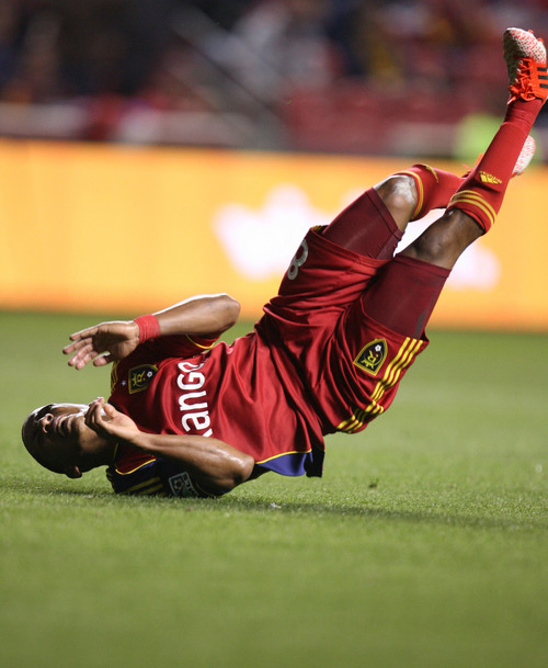 Steve Griffin  |  The Salt Lake Tribune   RSL forward Joao Plata tumbles along the ground during first half action in the Real Salt Lake versus Chivas USA soccer match at Rio TInto Stadium in Sandy, Utah Wednesday, October 23, 2013.
